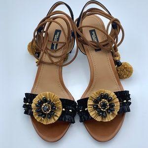 NIB DOLCE & GABBANA Black Crystal Raffia Sandals
